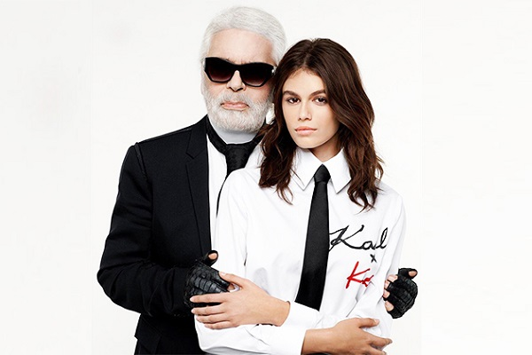 Karl Lagerfeld oversized white shirt dress collab with Kaia Berger