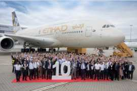 Etihad Airways takes delivery of its 10th and final Airbus A 380