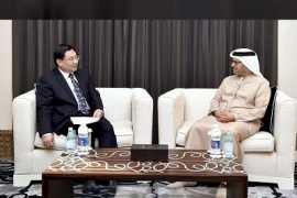 阿联酋外交部长会见中国陕西省省委书记胡和平