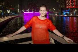 During her cruise down Dubai Canal, tennis ace Agnieszka Radwanska marvels at waterfall